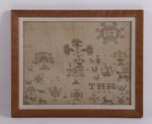 19th Century early American silk on wool sampler with excellent workmanship. Strong shades colors throughout. (Size: See second photo for measurement.)  Photos are part of the description representing the condition report.  Pangaea Auctions urges Bidder's to view all attached photos.