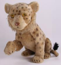 Early 20th Century stuffed leopard automaton toy.  Attributed/Possibly: Steiff Toy Company (Size: See second photo for measurement.)  Photos are part of the description representing the condition report.  Pangaea Auctions urges Bidder's to view all attached photos.