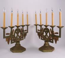 Two (2) Candelabra, possible Russian Pentecostal, mid 20th Century.  (Size: See second photo for measurement.)  Photos are part of the description representing the condition report.  Pangaea Auctions urges Bidder's to view all attached photos.