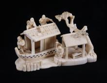 Early 20th Century, Japanese ivory single piece carving of a boat house, pre-ban.  Exquisite detail throughout.  Condition Report: Man is missing a hand.  UNITED STATES SHIPPING ONLY, WILL NOT EXPORT.  (Size: See second photo for measurement.)  Photos are part of the description representing the condition report.  Pangaea Auctions urges Bidder's to view all attached photos.