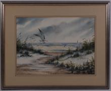 R. Hanley, original watercolor on paper beach scene.  (Size: See second photo for measurement.)  Photos are part of the description representing the condition report.  Pangaea Auctions urges Bidder's to view all attached photos.