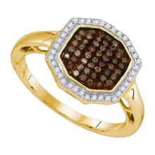 10K Yellow-gold 0.33CTW COGNAC DIAMOND FASHION RING #37035v3