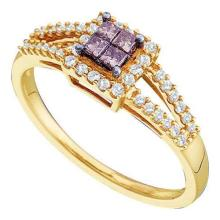 14KT Yellow Gold 0.33CTW COGNAC DIAMOND LADIES INVISIBLE RING #34363v3