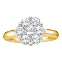 14KT Yellow Gold 0.25CTW DIAMOND FLOWER RING #34849v3