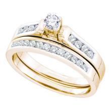 14KT Yellow Gold 0.50CTW DIAMOND ROUND CENTER BRIDAL SET #34357v3