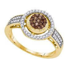10KT Yellow Gold 0.35CTW COGNAC DIAMOND MICRO-PAVE RING #34564v3