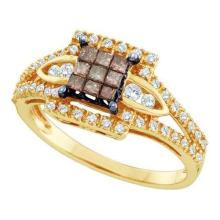 14KT Yellow Gold 0.50CTW COGNAC DIAMOND LADIES INVISIBLE RING #34359v3