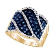 10KT Yellow Gold 0.77CTW BLUE DIAMOND FASHION RING #34482v3