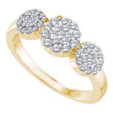 14KT Yellow Gold 0.50CTW DIAMOND FLOWER RING #35023v3