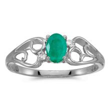 Certified 14k White Gold Oval Emerald And Diamond Ring #25538v3