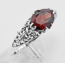 Antique Style Garnet Filigree Ring - Sterling Silver #97284v2