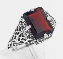 Antique Style Garnet Filigree Ring - Sterling Silver #97278v2