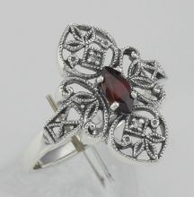 Lovely Victorian Style Garnet Filigree Ring with Two Diamonds - Sterling Silver #97281v2