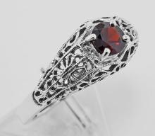 Garnet Filigree Ring - Sterling Silver #97279v2