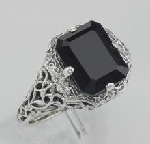 Art Deco Style Black Onyx Filigree Ring - Sterling Silver #97314v2