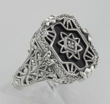Antique Victorian Style Black Onyx / Diamond Filigree Ring - Sterling Silver #97312v2