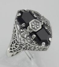 Art Deco Style Black Onyx Filigree Ring with Diamond - Sterling Silver #97315v2