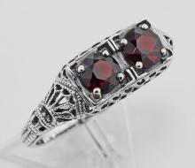 Antique Style Garnet Filigree Ring - Sterling Silver #97274v2