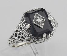 Black Onyx Filigree Ring w/ Diamond Art Deco Style - Sterling Silver #97308v2