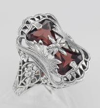 Antique Style Garnet Filigree Ring with Flower Design - Sterling Silver #97282v2