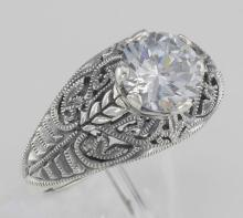 Classic Victorian Style Cubic Zirconia Filigree Ring - Sterling Silver #97718v2