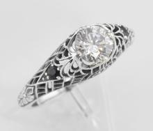 Cubic Zirconia Filigree Ring with Genuine Sapphire Accents Sterling Silver #97720v2