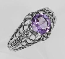 Art Deco Style Amethyst Filigree Ring with Four Diamonds Sterling 925 #97482v2