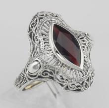 Art Deco Style Genuine Garnet Filigree Ring - Sterling Silver #97280v2