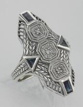 Art Deco Style Blue Sapphire Filigree Ring w/ 3 Diamonds - Sterling Silver #97430v2