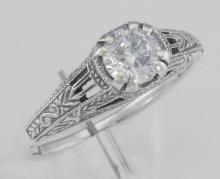 Antique Style CZ Filigree Ring Sterling Silver #97719v2