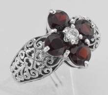 Classic Victorian Style Garnet Filigree Ring w/ CZ Center - Sterling Silver #97277v2