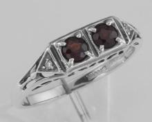 Art Deco Style Garnet Filigree Ring w/ 2 Diamonds - Sterling Silver #97271v2