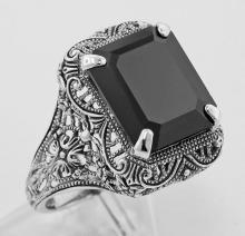 Onyx Filigree Ring - Sterling Silver #97311v2
