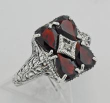 Garnet / Diamond Filigree Ring - Sterling Silver #97283v2