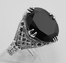 8 Carat Faceted Black Spinel Filigree Ring - Sterling Silver #97310v2
