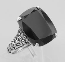 Antique Style Black Onyx Filigree Ring - Sterling Silver #97309v2
