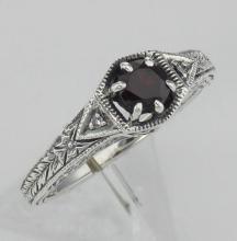 Antique Style Genuine Red Garnet Filigree Ring w/ 2 Diamonds - Sterling Silver #97276v2