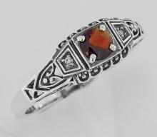Garnet Filigree Ring w/ 2 Diamonds - Sterling Silver #97273v2