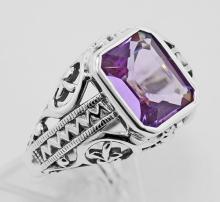 2 1/2 Carat Amethyst Filigree Ring - Sterling Silver #97481v2