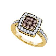 10KT Yellow Gold 1.00CT COGNAC DIAMOND FASHION RING #32417v3