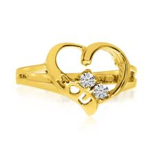 Certified 14K Yellow Gold I Love You Two-Stone Diamond Ring #25414v3