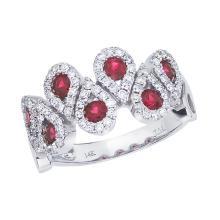 Certified 14k White Gold Ruby and .48 ct Diamond Fashion Ring #25400v3