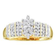 10KT Yellow Gold 0.25CTW DIAMOND CLUSTER RING #32560v3
