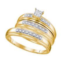10KT Yellow Gold 0.20CTW DIAMOND CLUSTER TRIO SET #32487v3