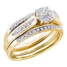 14KT Yellow Gold 0.25CTW DIAMOND ROUND CENTER BRIDAL SET #32607v3