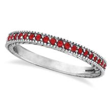 Ruby Stackable Ring Band Milgrain Edges 14k White Gold (0.25ct) #53467v3