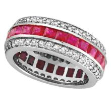 Princess Ruby and Diamond Eternity Ring 14k White Gold (5.70ctw) #51934v3