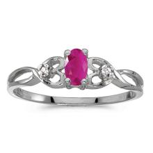 Certified 10k White Gold Oval Ruby And Diamond Ring #51485v3