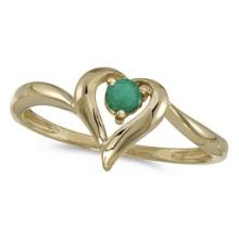 Emerald Heart Right-Hand Ring in 14k Yellow Gold (0.25ct) #53088v3