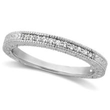 Antique Style Pave Set Wedding Ring Anniversary Band Platinum (0.30ct) #53478v3